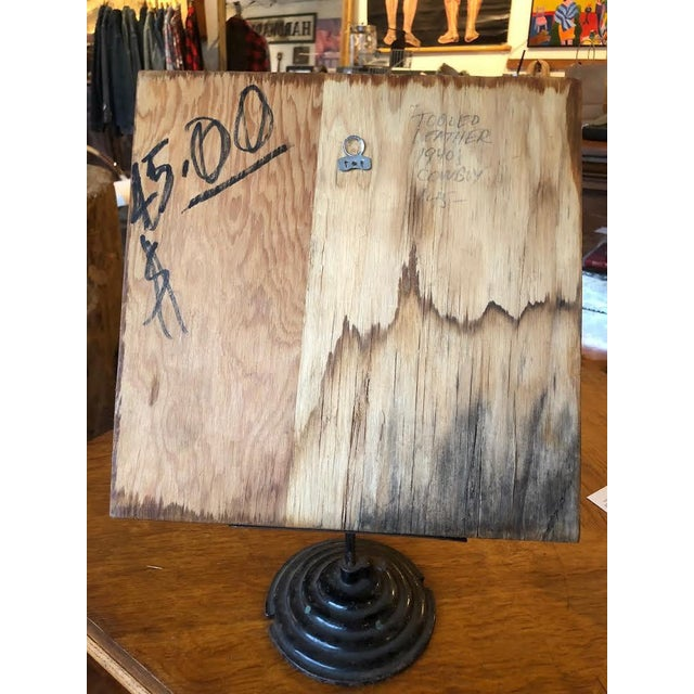 Brown Leather Tooled Cowboy Plaque For Sale - Image 8 of 9