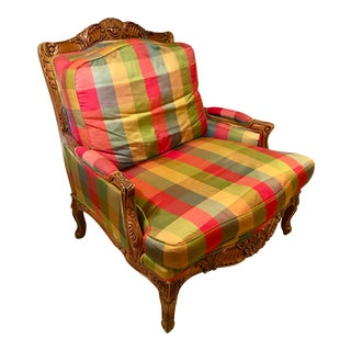 Sherrill French Style Carved Bergere Armchair With Plaid Silk Upholstery For Sale