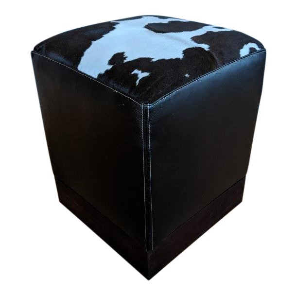 Modern Leather & Hide Low Stool For Sale