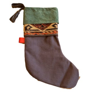 Antique Rug Fragment Stocking Green For Sale