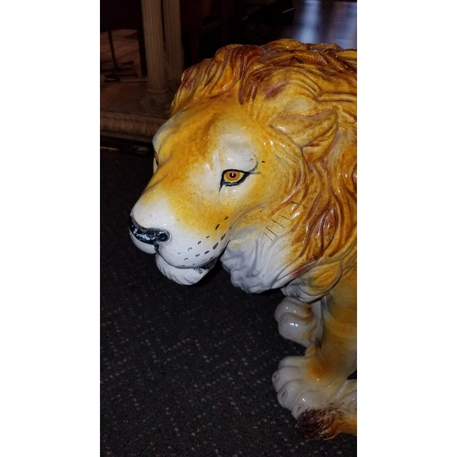 Wonderful mid century Italian lion drinks table or garden stool. He is very attractive and has a great face. Found in a...