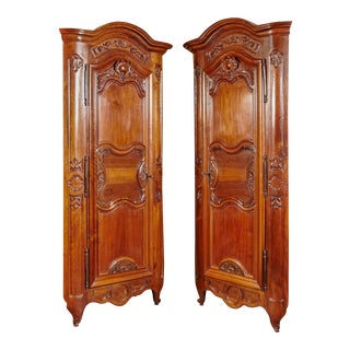 Pair of 18th Century Louis XV Walnut Carved Doors Corner Cabinets From Lyon For Sale