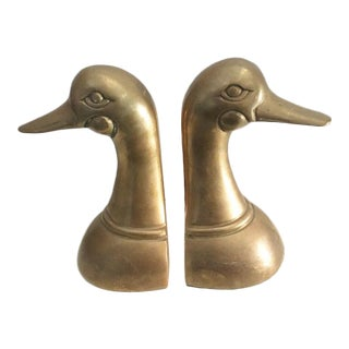 Solid Brass Duck Bookends - A Pair