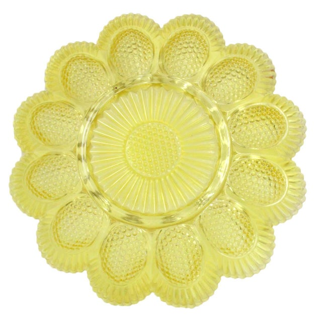 Vintage Yellow Deviled Egg Plate - Image 3 of 4