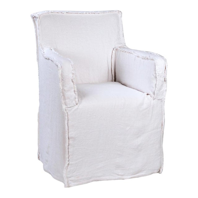 Linen Arm Dining Chair For Sale