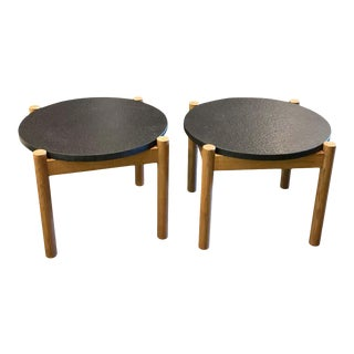 Elm and Black Stone Side Tables, by Robert Sentou, France, 1968 - a Pair For Sale