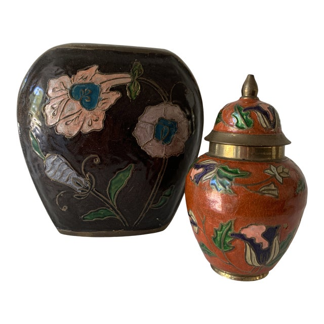 Vintage Enameled Brass Vase & Jar - Pair For Sale