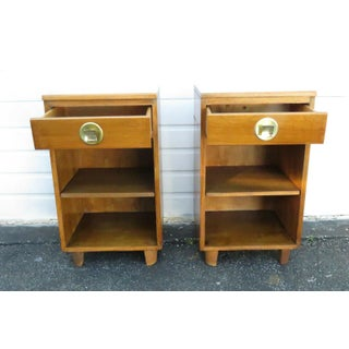 Mid Century Modern Pair of Tall and Narrow Nightstands End Side Tables Preview