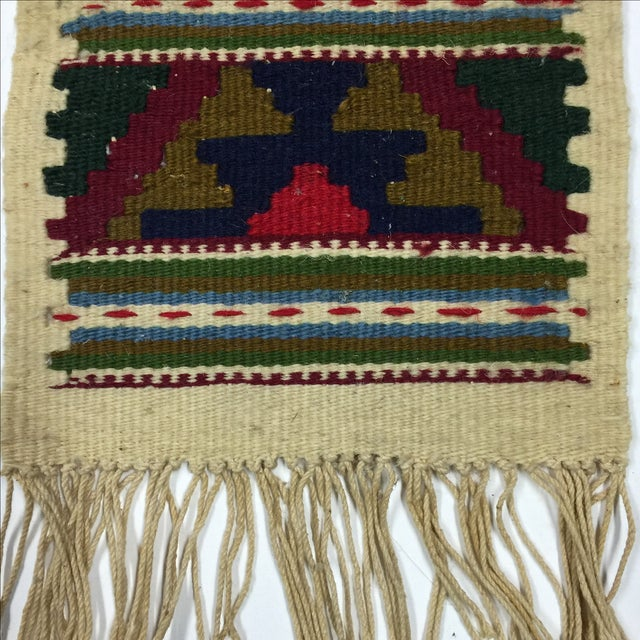 Miniature Hand Woven Zapotec Rug - 8″ × 1′1″ - Image 3 of 4