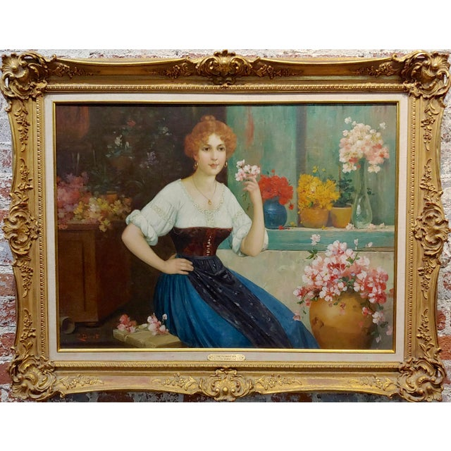 Luis Doret - The Beautiful Flower Girl - 19th century Oil painting oil painting on canvas - Signed circa 1860/1880s frame...