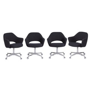 Four Rolling Reupholstered Saarinen Executive Chairs for Knoll Circa 1960s
