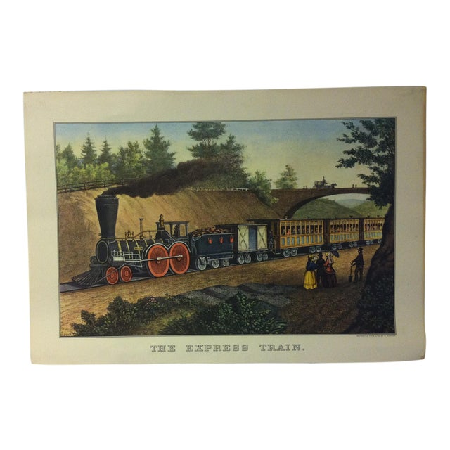"Currier & Ives Color Print, ""The Express Train"", 1956 For Sale"