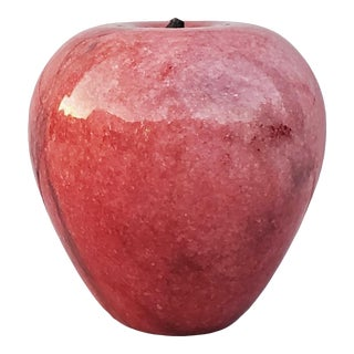 Decorative Marble Red Apple Paperweight For Sale