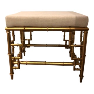 Faux Gilt Bamboo Ottoman For Sale
