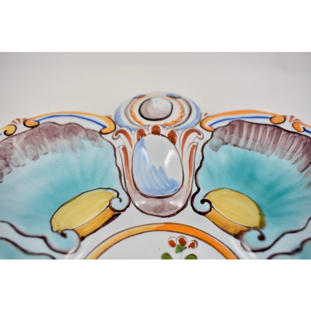 Ceramic St. Clément French Faïence Turquoise Floral Oyster Plate For Sale - Image 7 of 12