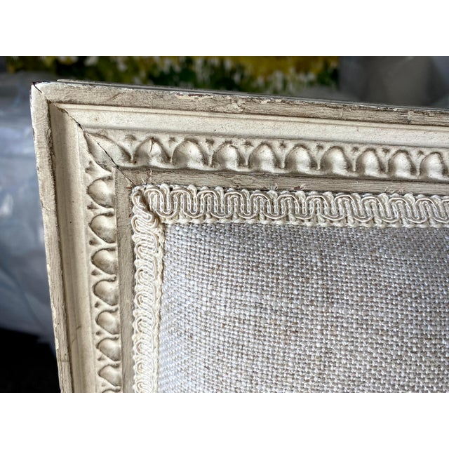 Antique French Grey White Painted Settee Upholstered in Off White Linen For Sale - Image 9 of 13