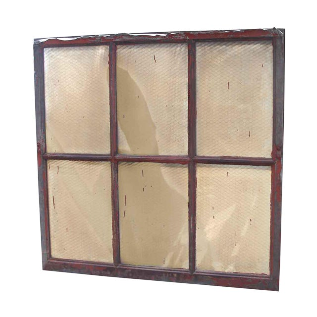 Industrial Steel Chicken Wire Glass Window - Image 1 of 4