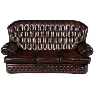 Tall Back Tufted Red Leather Chesterfield Sofa For Sale