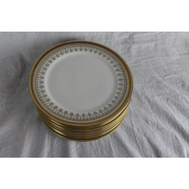 Mid 20th Century Cauldon White & Gold Lunch Plates - Set of 10 For Sale - Image 5 of 6