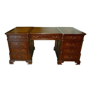 New Office Desk Mahogany & Satinwood Inlay For Sale