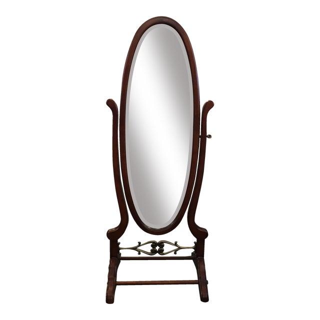 Mahogany Oval Floor Mirror | Chairish