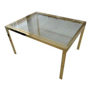 Vintage Brass & Glass DIA Expandable Dining Table