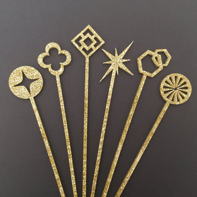 Geometric Gold Glitter Drink Stirrers - Set of 6 - Image 2 of 4