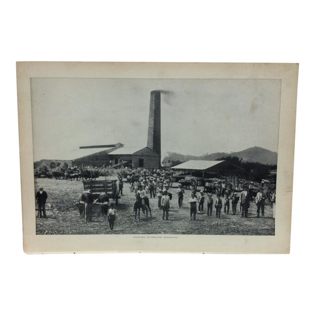 "Antique Our Islands and Their People Print, ""Sugar Mill and Employees Near Havana"" - n.d. Publishing Co. For Sale"