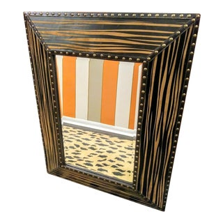 Zebra Print Black Brown Studded Rectangular Wall Mirror For Sale