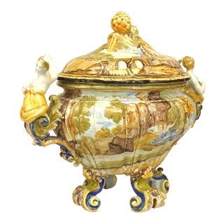 Italian Majolica Porcelain Tureen For Sale