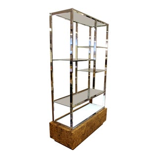 Milo Baughman Mid-Century Modern Light Up Chrome, Burl Wood Etagere With Glass Shelves For Sale