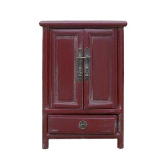 Chinese Rustic Red A-Shape End Table/Nightstand