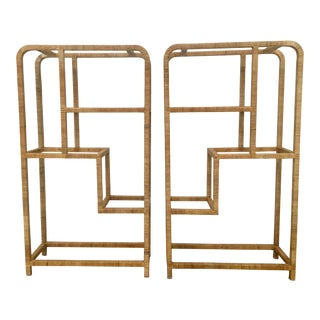 Pair Mid-Century Modern Rattan Wrapped Boookcases - Etageres Milo Baughman For Sale