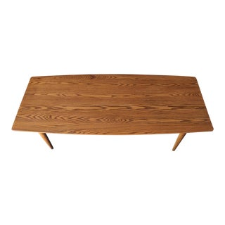 Mid Century Refinished Danish Oak Coffee Table with Beautiful Subtle Curves