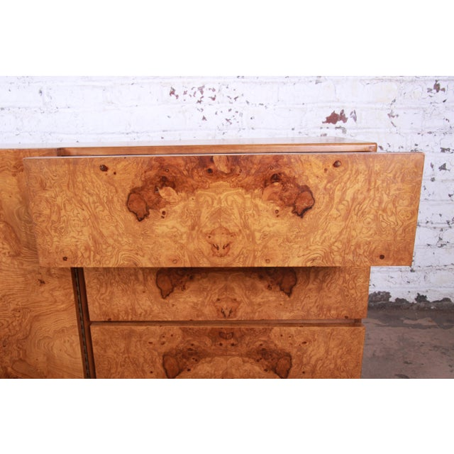 Milo Baughman Style Burl Wood Long Dresser or Credenza by Lane For Sale - Image 10 of 13