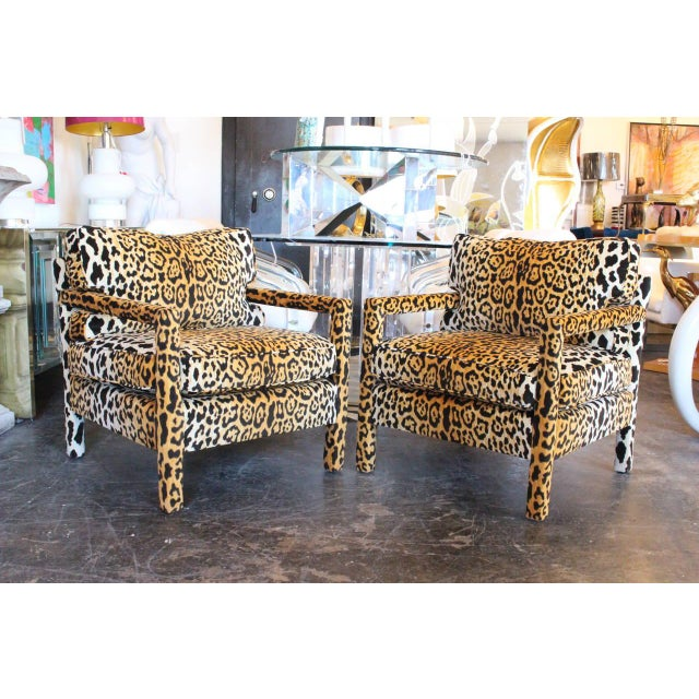 Mid-Century Modern Pair of Leopard Parson Chairs in the Style of Milo Baughman, Custom For Sale - Image 3 of 13
