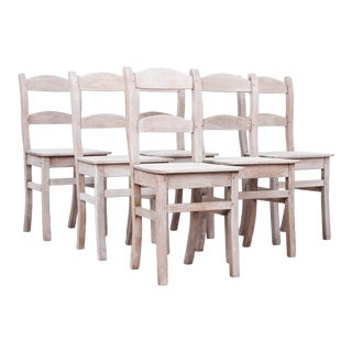 Antique Belgian Oak Dining Chairs - Set of 6 For Sale