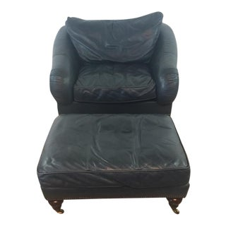Drexel Heritage Leather Armchair& Ottoman Set - A Pair