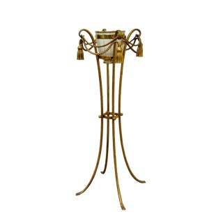 Vintage Gold Metal Italian Rope Tassel Plant Stand