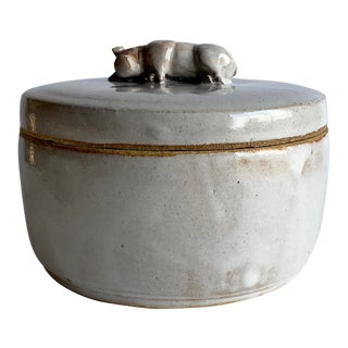 Studio Pottery Box, With Pig Handle For Sale
