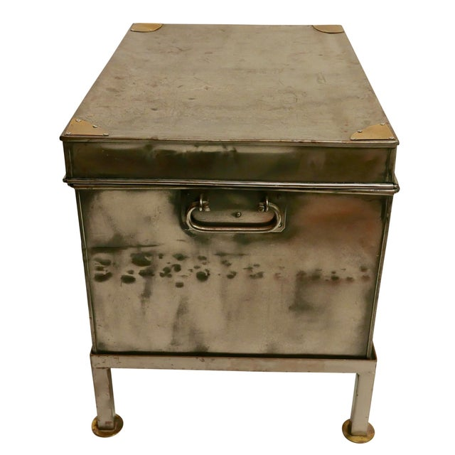 19th Century Polished Steel Trunk on Stand For Sale - Image 10 of 12