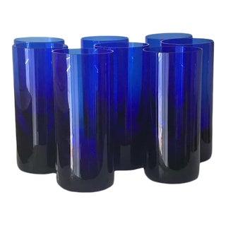 1990s Vintage Moser Cobalt Blue High Ball Glasses - Set of 8 For Sale