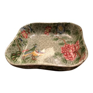 Antique Copeland Late Spode Green Chintz Peacock and Peony Square Bowl For Sale