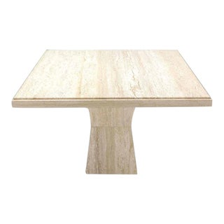 Mid-Century Modern Travertine Game Table on Double Tapered Base For Sale