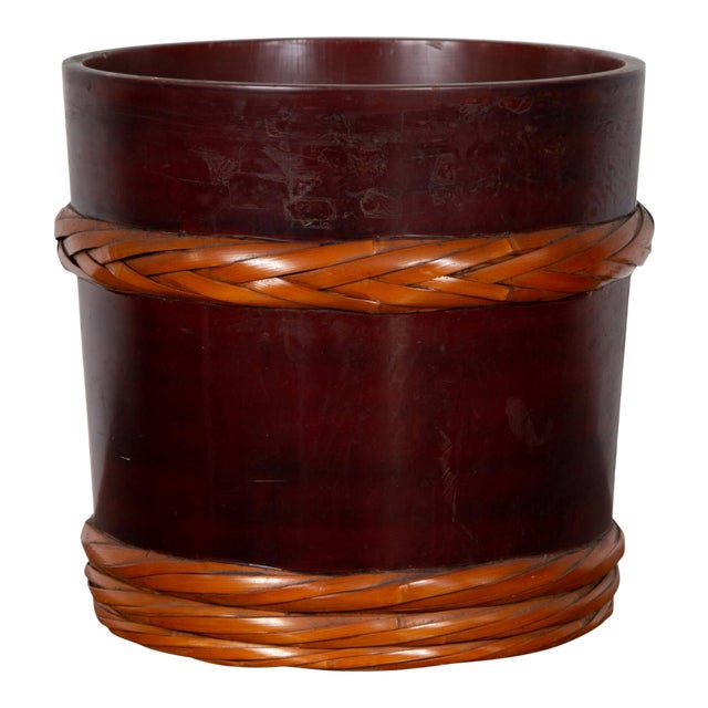 Vintage Chinese Wooden Barrel Planter with Rope Design with Red Undertone For Sale