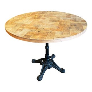 Round Rustic Wood Top Table on Bistro Style Iron Base For Sale