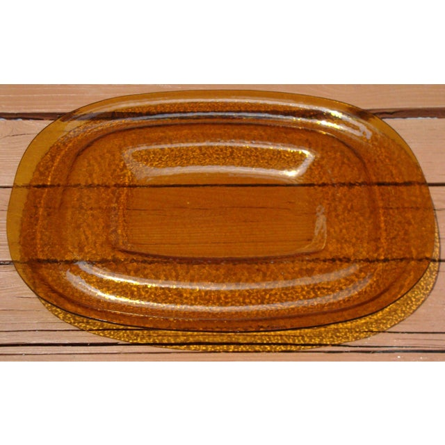 Art Deco Amber Yellow Glass Server Tray - Image 8 of 8