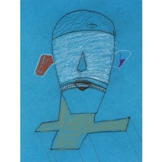 Michael DI Cosola Surrealist Portrait on Blue, Pastel Drawing, 1996 1996 For Sale