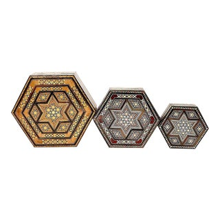 Middle Eastern Inlaid Wooden Marquetry Nesting Boxes - Set of 3 For Sale