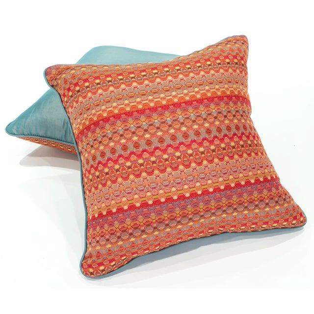 Poppy & Aqua Silk Pillows - A Pair - Image 5 of 8